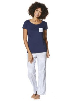 F&F Striped Bottom Pyjamas 8-10 Navy & White