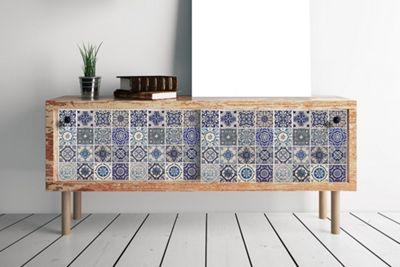 Walplus Spanish Blue Tile Pattern Wall Stickers