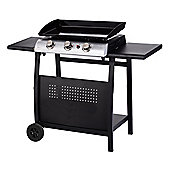 Gas BBQ 3 Burner Plancha in Stainless Steel with Stand and Side Tables