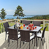 Outsunny 7PC Rattan Dining Set Tempered Glass Top Table Outdoor Conservatory Furniture - Brown