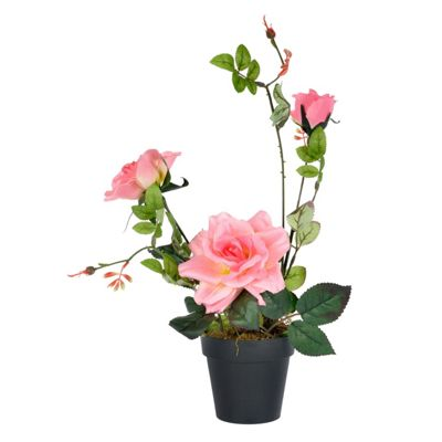 Homescapes Artificial Pink Garden Rose Flower Arrangement in Plastic Pot