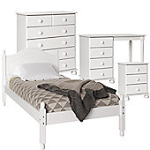 Nordic White Bedside, 2+4 Chest, Desk/Dressing Table - Single Bed Package