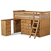 Happy Beds Ultimate Wood Kids Midsleeper Desk Storage Bed with Open Coil Spring Mattress - Waxed Pine - 3ft Single