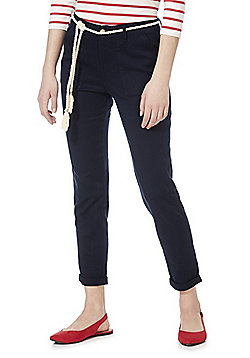 F&F Patch Pocket Mid Rise Chinos with Rope Belt - Navy