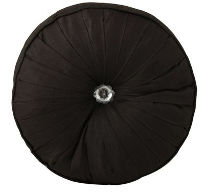 Black Round Button Diamond Cushion Filled Inner Home Decor