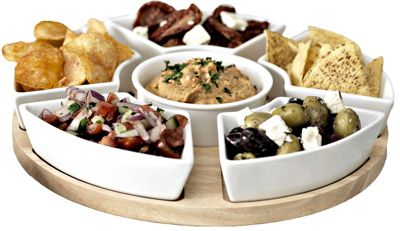 lazy susan rotating dip set serving platter with ceramic dishes hevea