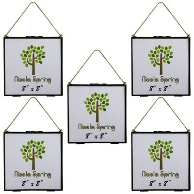 Hanging Glass Vintage Photo Picture Frame With Rope - 8x8 Photos - Pack of 5