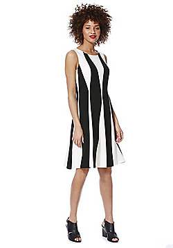 Roman Originals Monochrome Stripe Sleeveless Dress - Black & Cream