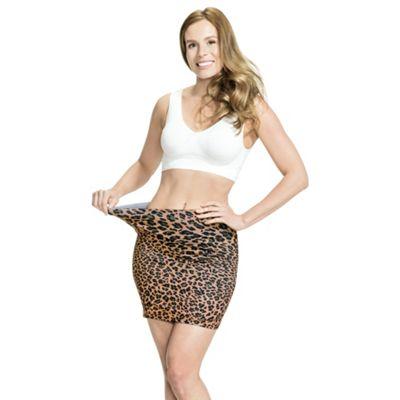JML Trim 'N' Slim Skirt: Slimming Shapewear Skirt (Leopard Print, S-M)