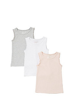 F&F 3 Pack of Lace Trim Rib Knit Vest Tops - Multi