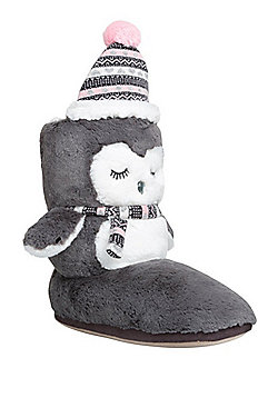 F&F Penguin Fleece Lined Bootie Slippers - Grey