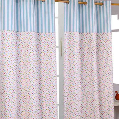 Homescapes Cotton Multi Stars Ready Made Eyelet Curtain Pair, 117 x 137 cm Drop