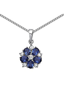 Rhodium Plated Sterling Silver Blue White Oval and Round Brilliant Cubic Zirconia Flower Petal Pendant Necklace 18""