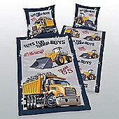 Diggers and Trucks Single Reversible Duvet Cover and Pillowcase Set