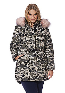 Simply Be Capsule Camouflage Print Faux Fur Trim Parka - Green