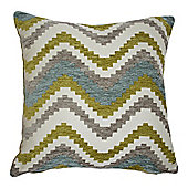 McAlister Soft Chenille Cushion - Blue and Green Chevron Design