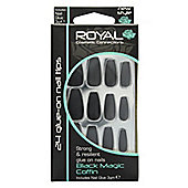 Royal 24 Glue-On Strong & Resilient Nail Tips-Black Magic Coffin