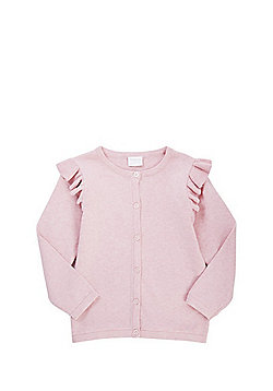 F&F Frill Shoulder Button-Through Cardigan with As New Technology - Pink