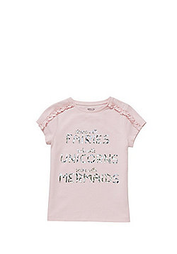 F&F Fairies Unicorns Mermaids Slogan T-Shirt - Pink