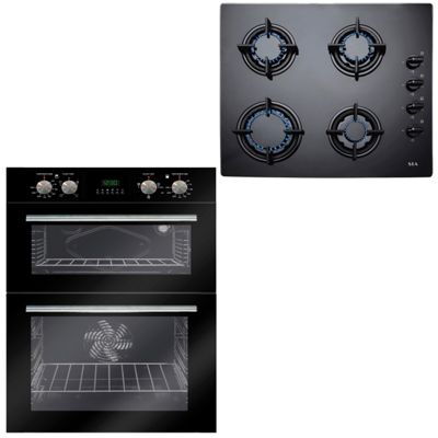 SIA 60cm Black Double Electric Built In Fan Oven & 4 Burner Gas on Glass Hob