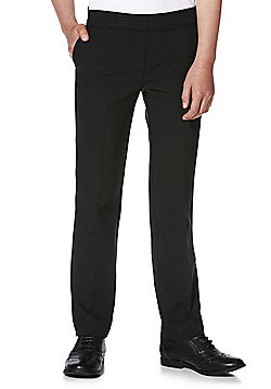 F&F School Girls 2 Pack of Bi-Stretch Straight Leg Trousers - Black