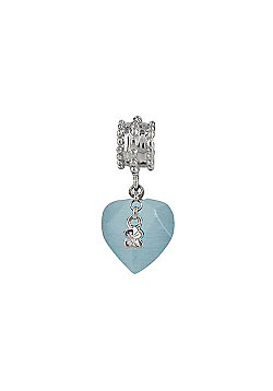 Chrysalis Blue Heart Hanging Charm Slide On Spacer