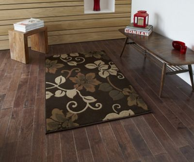 Oriental Carpets & Rugs Modena Brown/Beige Budget Rug - Runner 65 cm x 220 cm (2 ft 2 in x 7 ft 3 in)