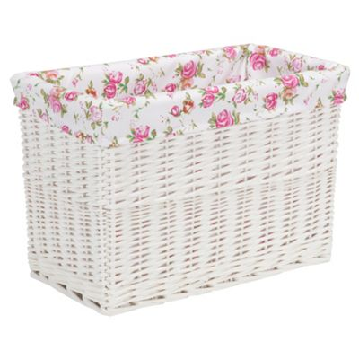 Tesco White Wicker Lined Magazine Basket