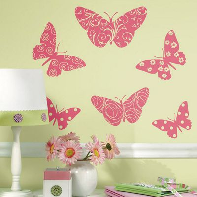 Childrens Wall Stickers - Flocked Butterfly