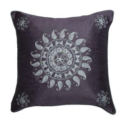Stylish Mauve Cushion Sequin Sunburst Flower Design
