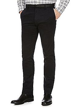 F&F Sateen Slim Fit Stretch Chinos With Belt - Black