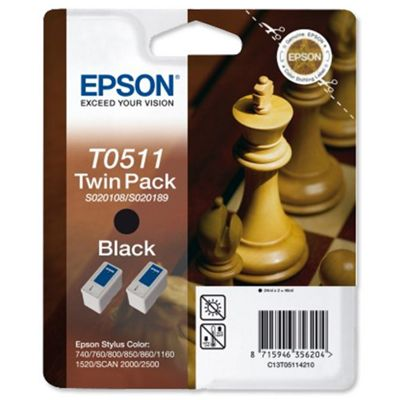 Epson T051 Black Ink Cartridge (Twin Pack) for STYLUS C 740/800/1520 Printers (Consolidated S020207 & S020209)