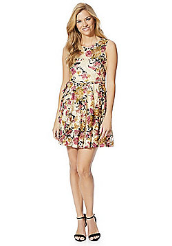 Mela London Floral Skater Dress - Beige