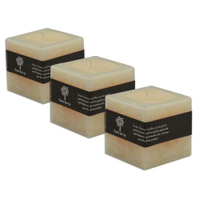 Vanilla Scented Single Wick Square Candle 100x100x100mm. 120hrs Burning Time - Pack Of 3
