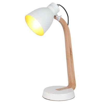 Contemporary Style Natural Wood Task Lamp & White Metal Head Shade
