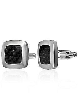 Urban Male Modern Stainless Steel & Black Carbon Fibre Cufflinks