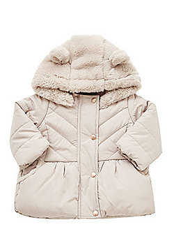 F&F Teddy Bear Hood Quilted Jacket - Mink