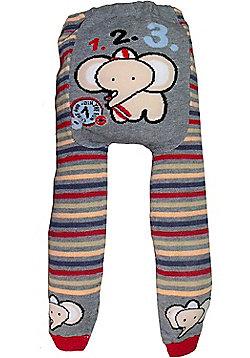 Dotty Fish Knitted Baby Leggings - Stripy Elephants - Grey