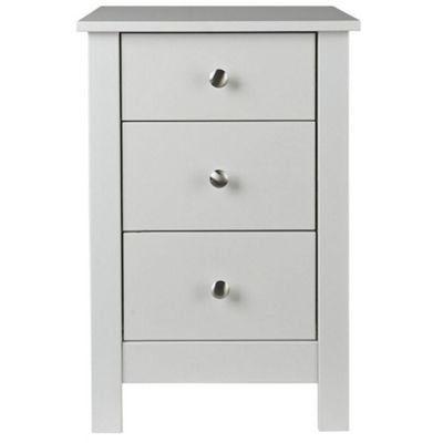Florence White 3 Drawer Bedside Table
