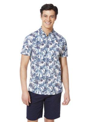 F&F Leaf Print Short Sleeve Shirt Blue/Multi 3XL