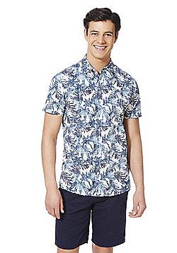 F&F Leaf Print Short Sleeve Shirt - Blue/Multi