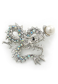 Classic Crystal Chinese Dragon Brooch With Simulated Pearl In Rhodium Plating (Clear/ AB) - 50mm Width