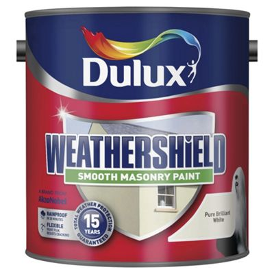 Dulux Weathershield Smooth Masonry Paint, Pure Brilliant White, 2.5L