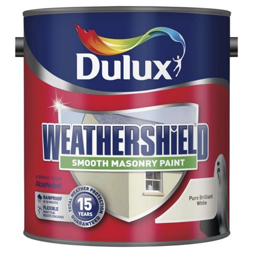Dulux Weathershield Smooth Masonry Paint, Pure Brilliant White, 2.5L