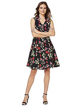 Solo Floral Button-Through Sleeveless Dress - Navy & Multi
