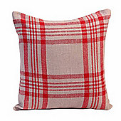 Homescapes Grey & Red Tartan Pattern Cushion Cover, 45 x 45 cm