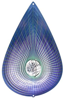 Iron Stop Designer Crystal Teardrop Wind Spinner 10in Garden Feature