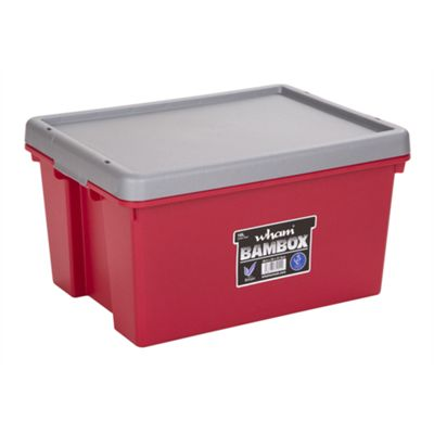 Wham Bam 16L Heavy Duty Box & Lid - Chilli Red/Silver - Pack of 3