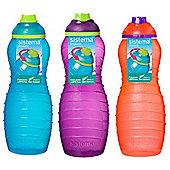 3 Sistema 700ml Twist n Sip Drink Bottles, Blue, Purple, Orange