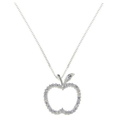 Sterling Silver & Cz Apple Pendante